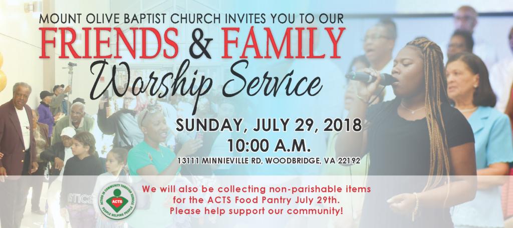 Friends & Family Worship Service @ Mount Olive Baptist Church | Woodbridge | Virginia | United States