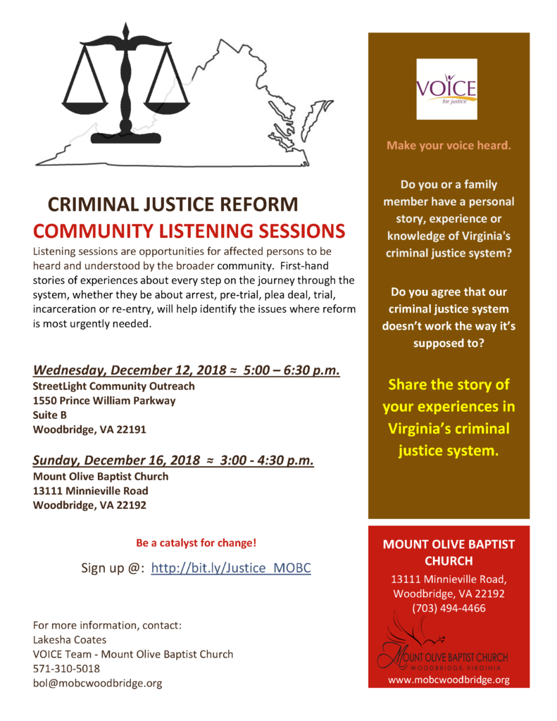 VOICE Criminal Justice Reform: Community Listening Sessions @ Mount Olive Baptist Church
